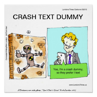 Crash Text Dummy Funny Poster