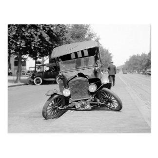 Crashed Vintage Car, 1922 Postcard