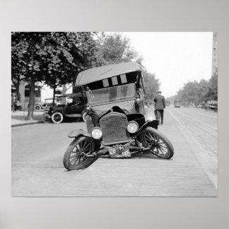 Crashed Vintage Car, 1922. Vintage Photo Poster