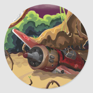 Crashed World War Fighter Aircraft Classic Round Sticker