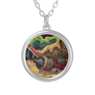 Crashed World War Fighter Aircraft Round Pendant Necklace
