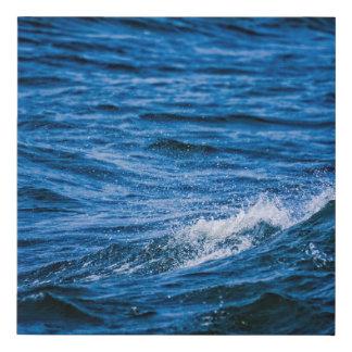 Crashing Blue Waves Faux Canvas Print