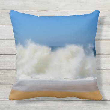 Beach Themed Crashing Ocean Waves Outdoor Throw Pillow