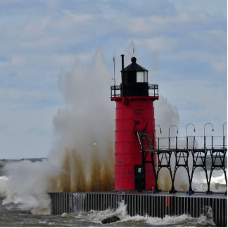 Crashing Water on South Haven Lighthouse Statuette