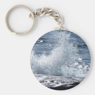 Crashing Waves Basic Round Button Keychain