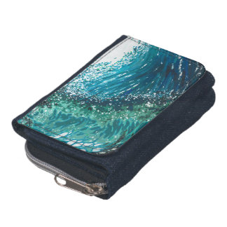 Crashing Waves Denim wallet by Margaret Juul