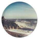 Crashing Waves on Rocks Plate