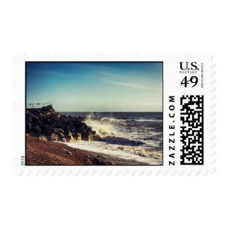 Crashing Waves on Rocks Postage Stamp