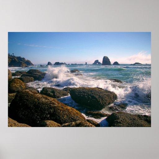 Crashing waves posters