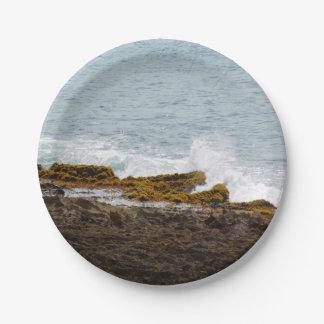 Crashing Waves: Rocky Coast Paper Plate
