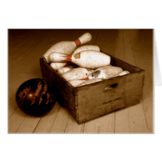 Crate of Old Bowling Pins Greeting Cards