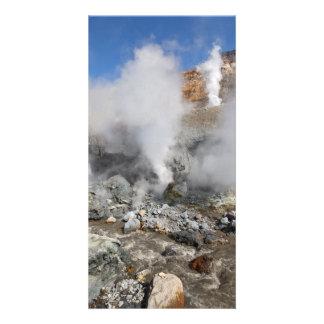 Crater active Mutnovsky Volcano. Kamchatka. Russia Card