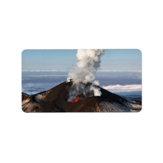Crater active volcano: lava, gas, steam, ashes label