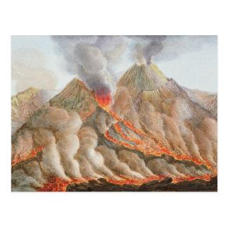 Cráter del monte Vesubio de un dibujo original Postal