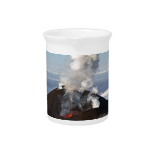 Crater eruption volcano: lava, gas, steam, ashes beverage pitcher