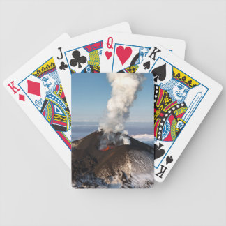 Crater eruption volcano: lava, gas, steam, ashes bicycle playing cards
