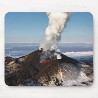 Crater eruption volcano: lava, gas, steam, ashes mouse pad