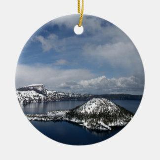 Crater Lake and Wizard Island Ceramic Ornament