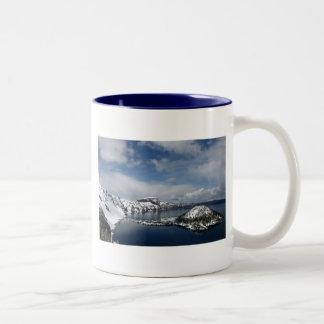 Crater Lake and Wizard Island Two-Tone Coffee Mug