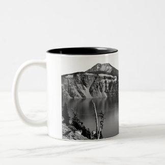Crater Lake - Beautiful in Black and White Two-Tone Coffee Mug
