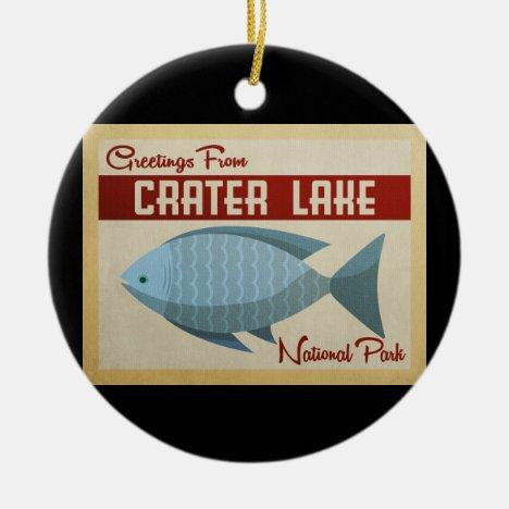 Crater Lake Blue Fish Vintage Travel Ceramic Ornament