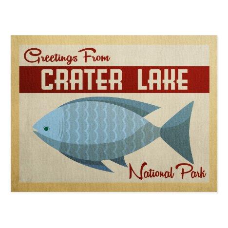 Crater Lake Blue Fish Vintage Travel Postcard