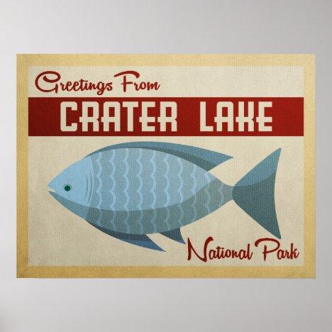 Crater Lake Blue Fish Vintage Travel Poster