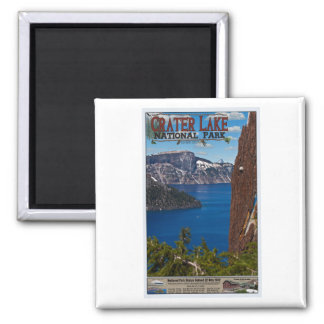 Crater Lake - Informational Poster 2 Inch Square Magnet