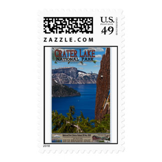 Crater Lake - Informational Poster Postage Stamps