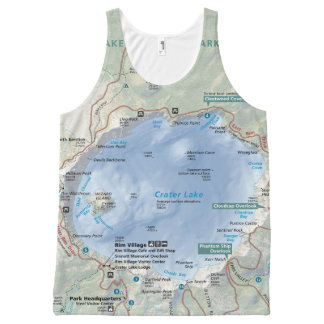 Crater Lake map unisex All-Over Print Tank Top