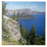 "Crater Lake National Park Photo Ceramic Tile<br><div class=""desc"">Ceramic tile that features a scenic photo image of the sapphire blue waters in Crater Lake National Park,  Oregon. Select your tile size. Makes a great travel souvenir trivet! To see other products we have to offer,  click on the Northwestphotos store link.</div>"