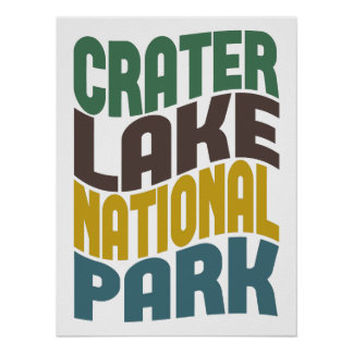 Crater Lake National Park Retro Wave Poster
