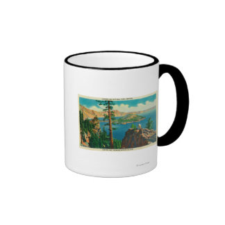 Crater Lake showing Wizard Island in distance Ringer Coffee Mug