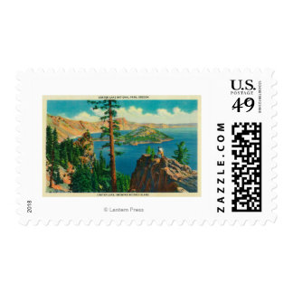 Crater Lake showing Wizard Island in distance Postage