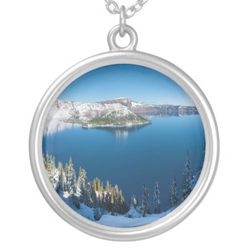 Crater Lake South Central Oregon in Winter Custom Necklace