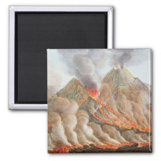 Crater of Mount Vesuvius from an original drawing 2 Inch Square Magnet