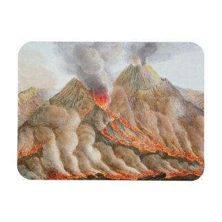 Crater of Mount Vesuvius from an original drawing Rectangular Photo Magnet