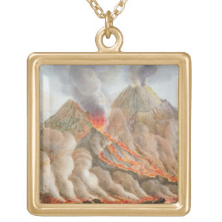 Crater of Mount Vesuvius from an original drawing Square Pendant Necklace