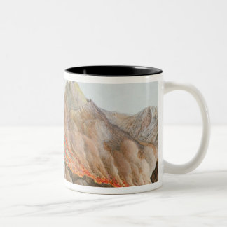 Crater of Mount Vesuvius from an original drawing Two-Tone Coffee Mug