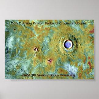 Cráteres del pedestal de la misión de la odisea de impresiones