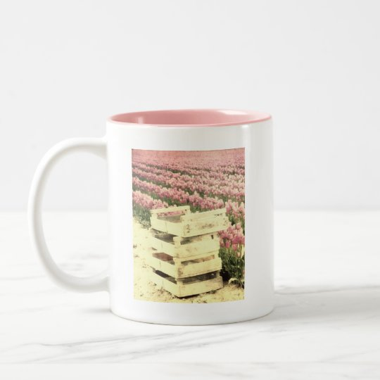 Crates in the Tulip fields Two-Tone Coffee Mug