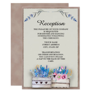 Crates of Watercolor Lavender Reception Invitation