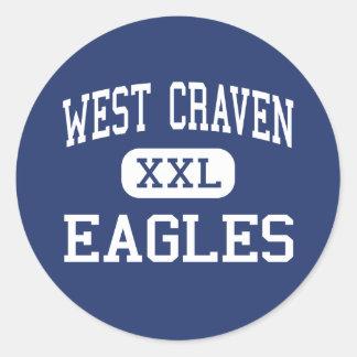 Craven del oeste - Eagles - altos - Vanceboro Pegatina Redonda