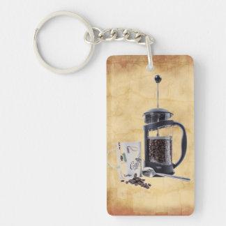 Craving del cafeína llavero rectangular acrílico a doble cara