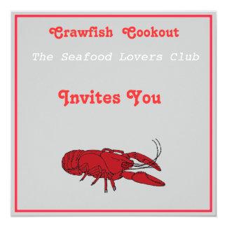 Craw fish cookout 5.25x5.25 square paper invitation card