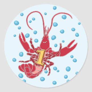 Crawfish 1 With Bubbles Classic Round Sticker