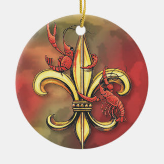 Crawfish & Alligator Fleur de Lis Double-Sided Ceramic Round Christmas Ornament