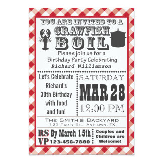 "Crawfish Boil Birthday Party Invitation 5"" X 7"" Invitation Card"
