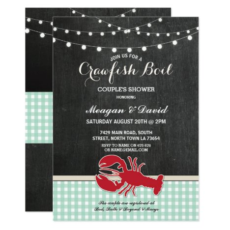 Crawfish Boil Engagement Party Check Light Lobster Invitation