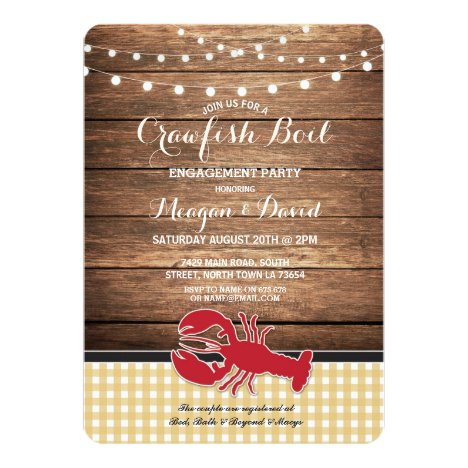 Crawfish Boil Engagement Party Check Lobster Invitation